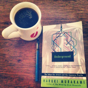 Cracking open a new book, munching on Murakami